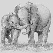 Картины ручной работы. Ярмарка Мастеров - ручная работа Слоны. Handmade.
