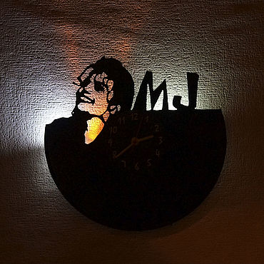 For home and interior handmade. Livemaster - original item Wall clock with LED backlight from Michael Jackson records. Handmade.