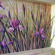 Декор ручной работы. Ярмарка Мастеров - ручная работа роспись стен в нише Ирисы. Handmade.
