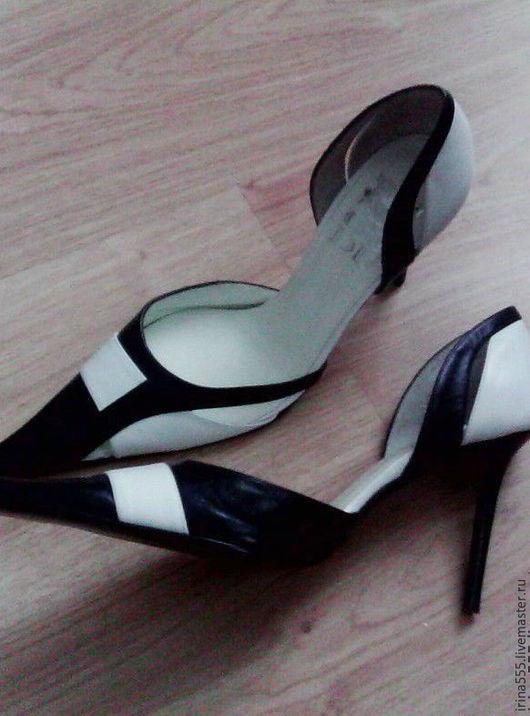 Винтажная обувь. Ярмарка Мастеров - ручная работа. Купить Туфли  из натуральной кожи. Handmade. Чёрно-белый, высокий каблук, ретро