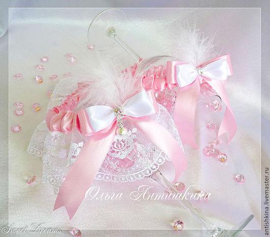 """Одежда и аксессуары ручной работы. Ярмарка Мастеров - ручная работа. Купить Комплект подвязок """"Версаль"""" (розовые). Handmade. Розовый, кружево"""