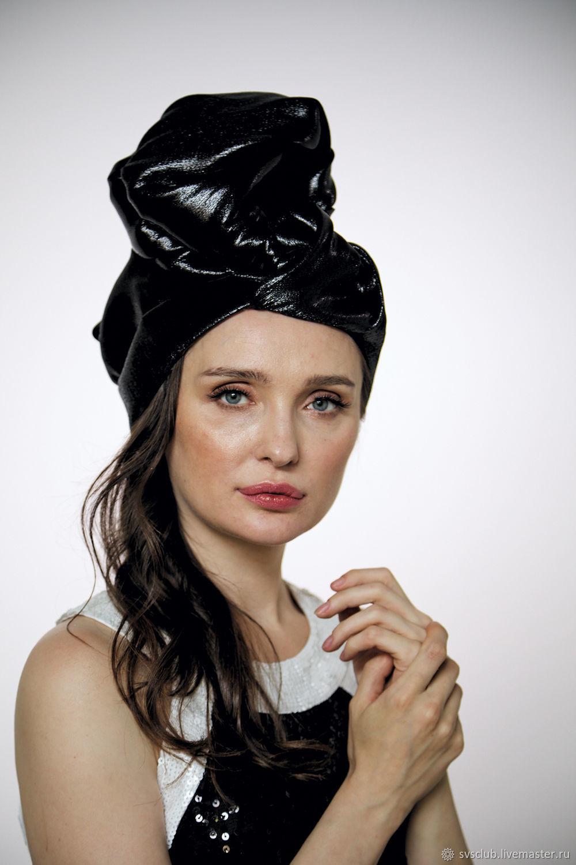 "Black silk shine ""vinyl"" turban hat hijab, Caps, Moscow,  Фото №1"