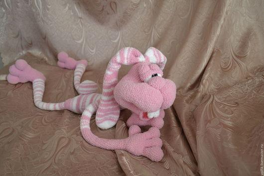 Игрушки животные, ручной работы. Ярмарка Мастеров - ручная работа. Купить Заяц Кекс. Handmade. Розовый, заяц, полосатый, кекс