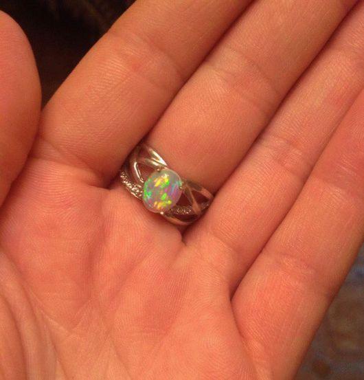 """Кольца ручной работы. Ярмарка Мастеров - ручная работа. Купить """" Нимфа"""" кольцо с опалом Эфиопии. Handmade. Комбинированный"""