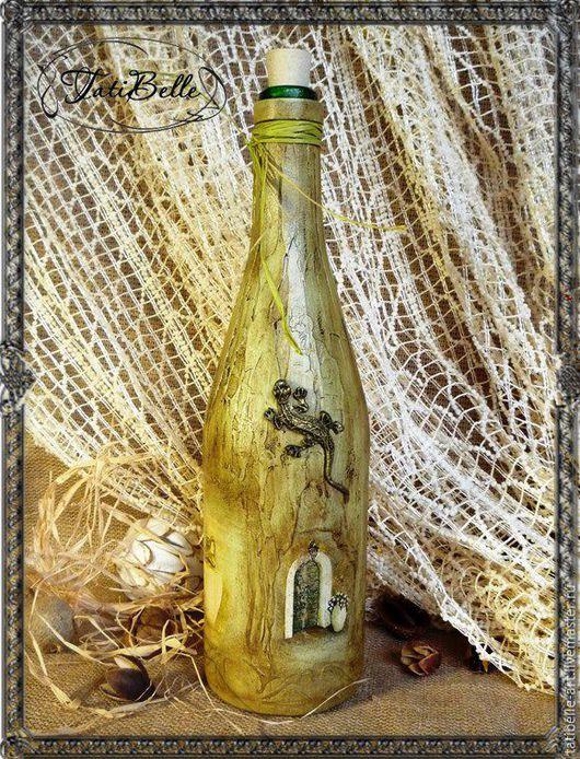 """Кухня ручной работы. Ярмарка Мастеров - ручная работа. Купить Бутылка """"Саламандра"""". Handmade. Бежевый, Бутылка для вина, интерьер кухни"""