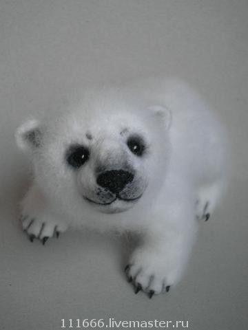 """Игрушка из шерсти """"Белый медвежонок"""", Войлочная игрушка, Москва,  Фото №1"""