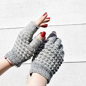 Аксессуары handmade. Livemaster - original item Fingerless gloves, soft mitts, grey. Handmade.