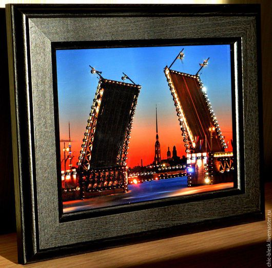 """Персональные подарки ручной работы. Ярмарка Мастеров - ручная работа. Купить картина """" Развод мостов"""" со стразами SWAROVSKI. Handmade."""