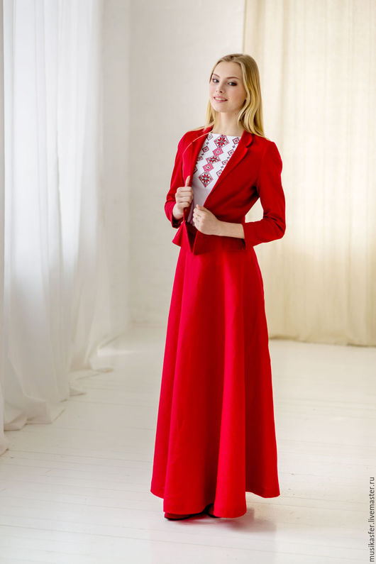 Одежда ручной работы. Ярмарка Мастеров - ручная работа. Купить Красная льняная юбка. Handmade. Ярко-красный, русская юбка