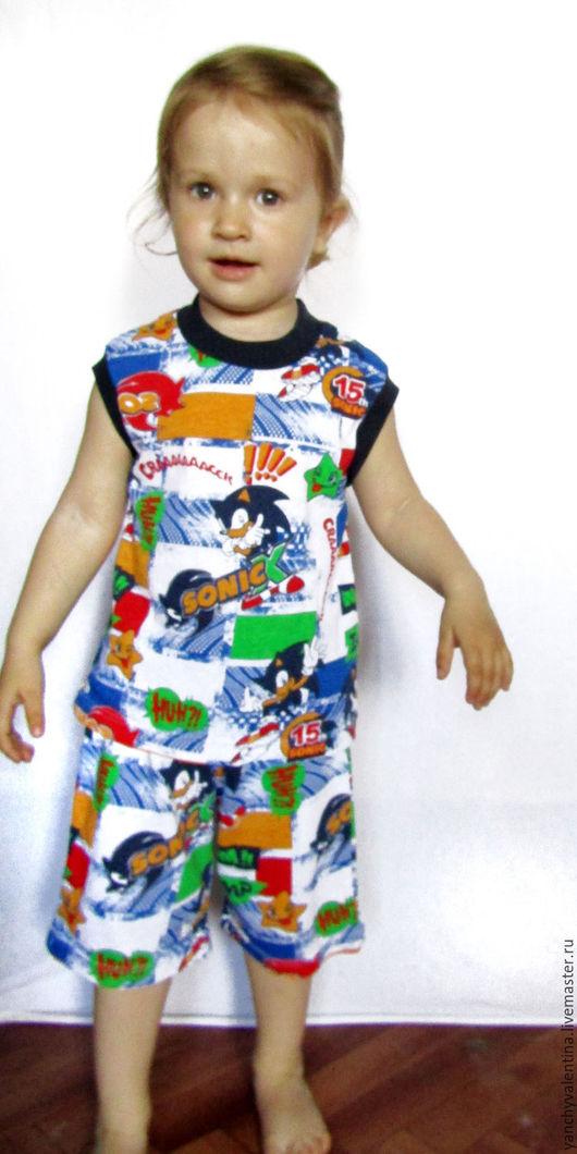 Одежда унисекс ручной работы. Ярмарка Мастеров - ручная работа. Купить Комплект детский трикотажный. Шортики и маечка. Handmade. Комбинированный