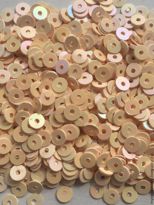 Вышивка ручной работы. Ярмарка Мастеров - ручная работа. Купить Пайетки 4 мм плоские. Handmade. Кремовый, пайетки пришивные