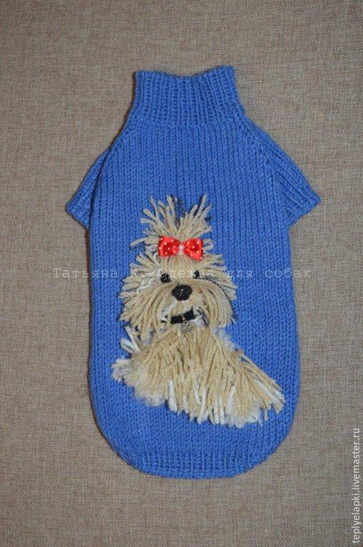 Одежда для собак, ручной работы. Ярмарка Мастеров - ручная работа. Купить Очаровательный свитерок с объемной аппликацией. Handmade. Синий