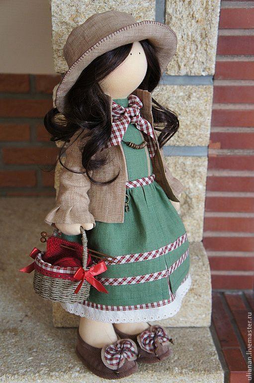 Человечки ручной работы. Ярмарка Мастеров - ручная работа. Купить Текстильная кукла.. Handmade. Зеленый, хлопок
