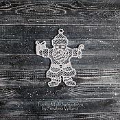 Подарки к праздникам handmade. Livemaster - original item Santa Claus. Christmas figurine. White lace.. Handmade.