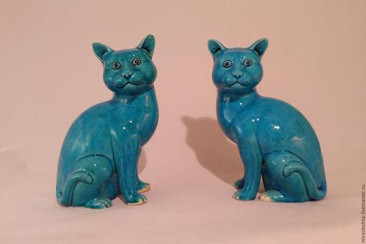 Редкие парные антикварные фарфоровые статуэтки коты (кошки) - старинный фарфор. Привлекают денежную удачу!