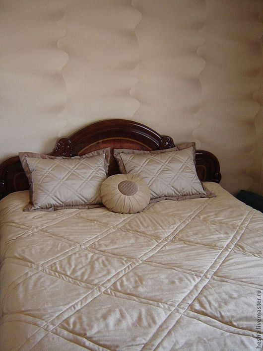 Текстиль, ковры ручной работы. Ярмарка Мастеров - ручная работа. Купить комплект для спальни. Handmade. Бежевый, покрывало на кровать