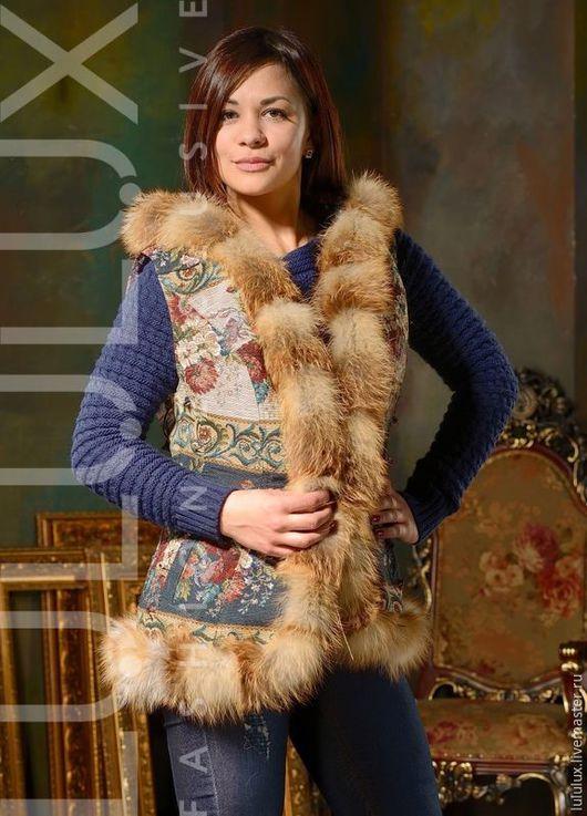 Жилеты ручной работы. Ярмарка Мастеров - ручная работа. Купить Жилетка из гобеленовой ткани с мехом лисы (GN000/70). Handmade.