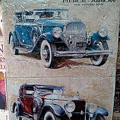 Картины и панно ручной работы. Ярмарка Мастеров - ручная работа Панно деревянное 30х40 состаренное Ретро-авто-9. Handmade.