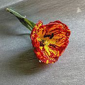 handmade. Livemaster - original item Tulip red. The scarlet flower. Bead brooch (copy of the work). Handmade.