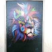Картины и панно handmade. Livemaster - original item Painting on canvas bright lion A4. Handmade.