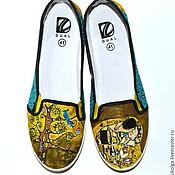 Обувь ручной работы. Ярмарка Мастеров - ручная работа Слипоны с росписью в стиле  Густав Климт. Handmade.