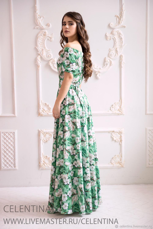 d075955f698f93c Платья ручной работы. Летнее платье в пол. Зеленое Платье с открытыми  плечами.