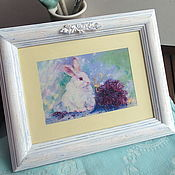 Картины и панно handmade. Livemaster - original item The decor in the style of Provence in a frame under glass. Lavender rabbit.. Handmade.