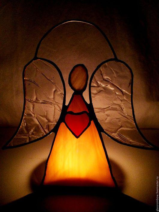 """Подсвечники ручной работы. Ярмарка Мастеров - ручная работа. Купить Витраж """"Ангел влюбленный"""". Handmade. Витраж, стекло ручной работы"""