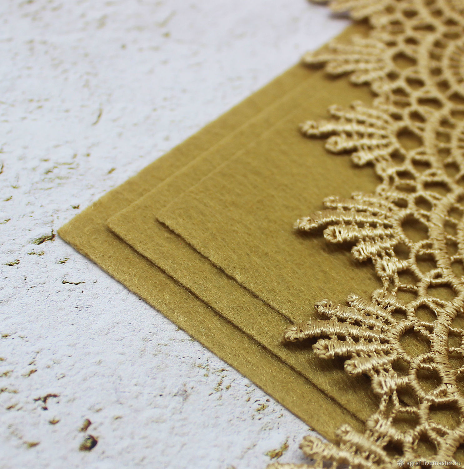 Felt: Base for embroidery Gold sand 15h15 cm thickness 1 mm, Felts, Solikamsk,  Фото №1