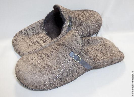 """Обувь ручной работы. Ярмарка Мастеров - ручная работа. Купить Мужские валяные тапки """"Большие"""". Handmade. Коричневый"""