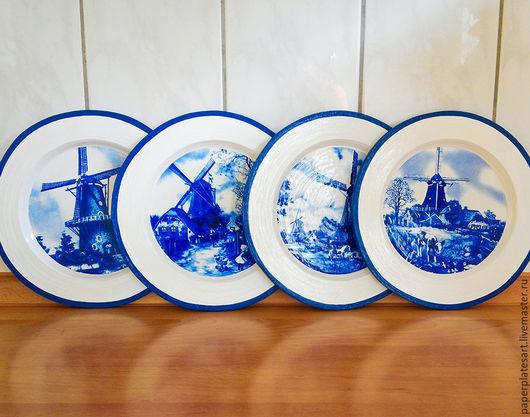 Тарелки ручной работы. Ярмарка Мастеров - ручная работа. Купить Голландские мельницы, набор из 4-х тарелочек. Handmade. Синий
