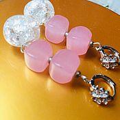 Украшения handmade. Livemaster - original item Earrings pink with rose quartz 4 Sugar caramel. Handmade.