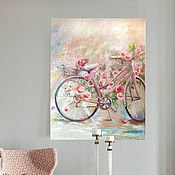 Картины и панно handmade. Livemaster - original item Roses and a bicycle-spring painting on canvas. Handmade.