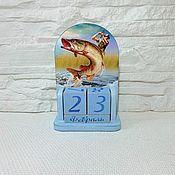 Канцелярские товары handmade. Livemaster - original item Perpetual calendar Fishing. Handmade.