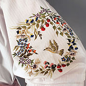 Одежда handmade. Livemaster - original item Embroidered white blouse