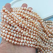 Материалы для творчества handmade. Livemaster - original item A string of natural pearls. fries of shapes 6-7 mm AA pink (5412). Handmade.