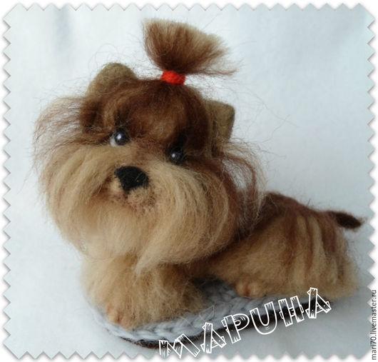 Броши ручной работы. Ярмарка Мастеров - ручная работа. Купить брошь ЙОРК собака щенок. Handmade. Разноцветный, щенок, Валяние