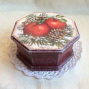 """Для дома и интерьера ручной работы. Ярмарка Мастеров - ручная работа Шкатулка """"Зимние яблоки"""". Handmade."""