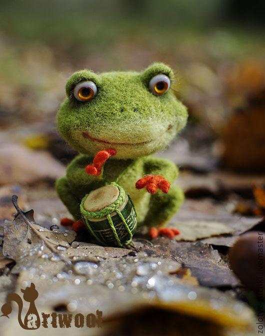Игрушки животные, ручной работы. Ярмарка Мастеров - ручная работа. Купить Лягушонок - маленький барабанщик.. Handmade. Зеленый, музыка