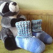 handmade. Livemaster - original item Set of child booties and cap Zebra color of the sky. Handmade.