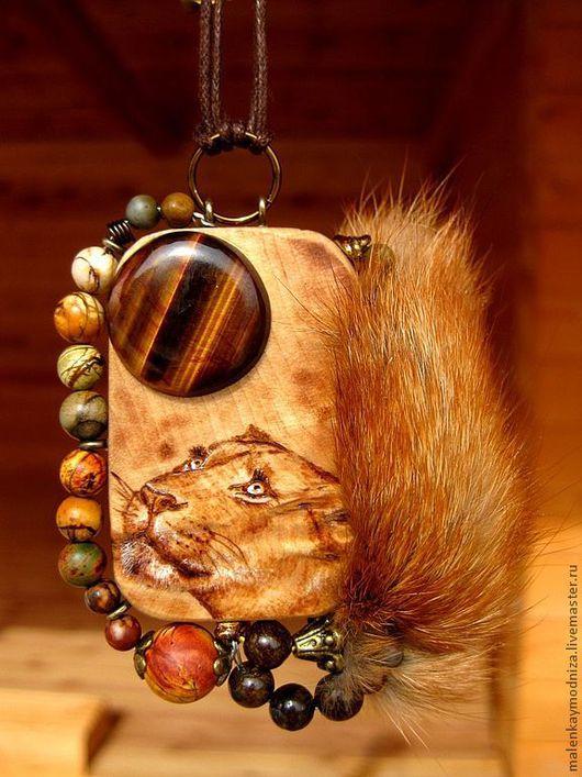 """Кулоны, подвески ручной работы. Ярмарка Мастеров - ручная работа. Купить Кулон """"Тигровая луна"""". Handmade. Рыжий, Львица, дерево"""