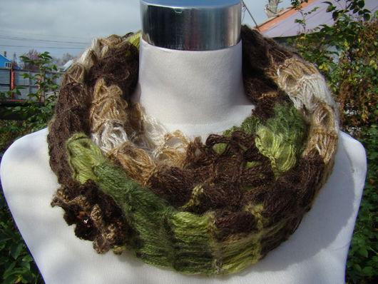 """Шали, палантины ручной работы. Ярмарка Мастеров - ручная работа. Купить шарф-снуд """" Осенний  лес"""". Handmade. мохеровый"""