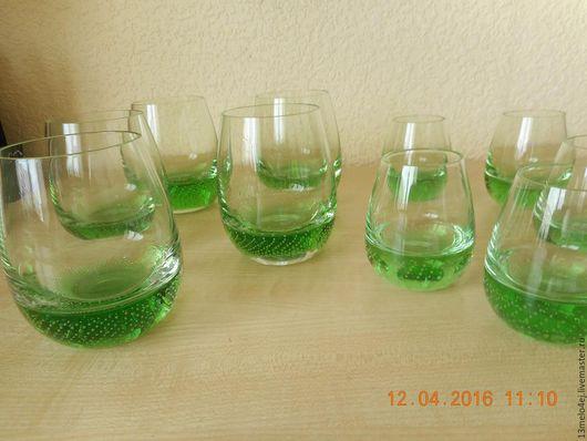 Винтажная посуда. Ярмарка Мастеров - ручная работа. Купить стаканчики с пузырьками. Handmade. Стаканы, стекло