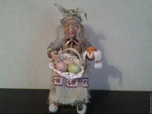 Коллекционные куклы ручной работы. Ярмарка Мастеров - ручная работа. Купить Баба Яга готовится к Пасхе. Handmade. Комбинированный