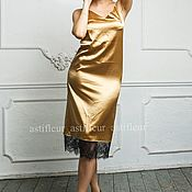 Одежда ручной работы. Ярмарка Мастеров - ручная работа Платье-комбинация в бельевом стиле золотое. Handmade.