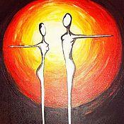 """Картины и панно ручной работы. Ярмарка Мастеров - ручная работа картина """"двое"""". Handmade."""