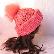 Аксессуары handmade. Livemaster - original item hat with pom-pom coral