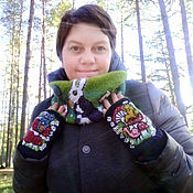 Аксессуары handmade. Livemaster - original item Knitted mitts and Snood. Handmade.