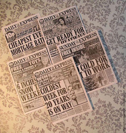 Кукольный дом ручной работы. Ярмарка Мастеров - ручная работа. Купить Комплект газет 1:12. Handmade. Чёрно-белый