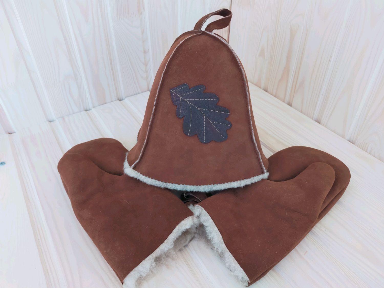SHEEPSKIN bath set (cap and mittens), Textiles for a bath, Cheboksary,  Фото №1